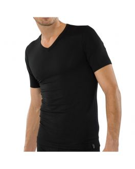 Schiesser Cotton 95/5 Shirt V-hals 205429 000 black