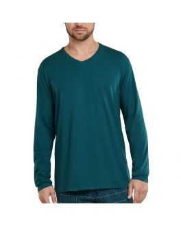 Schiesser Mix & Relax T-shirt V-hals LS 163846 702 dark green_1