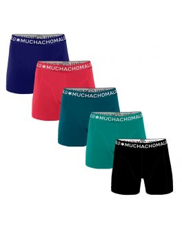 Muchachomalo Men 5-pak Light Cotton Solid  LCSolid1010 15 cobalt-azalea-petrol-tropical-green-black