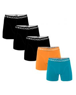 Muchachomalo Men 5-pak Light Cotton Solid  LCSolid1010 16 papaya-ocean-blue-black-black-black